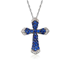 Крестик на цепочке с бриллиантами и сапфирами