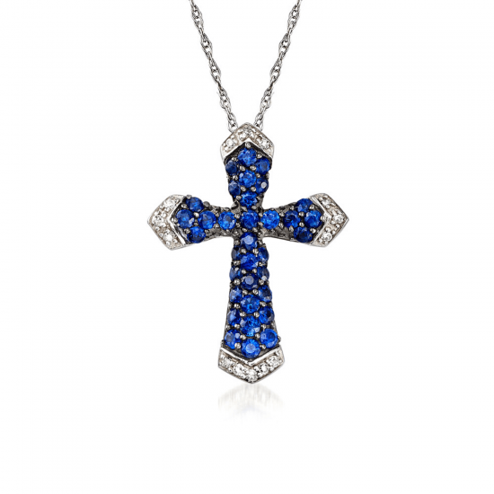 Крестик с бриллиантами и сапфирами, Больше Изображение 1