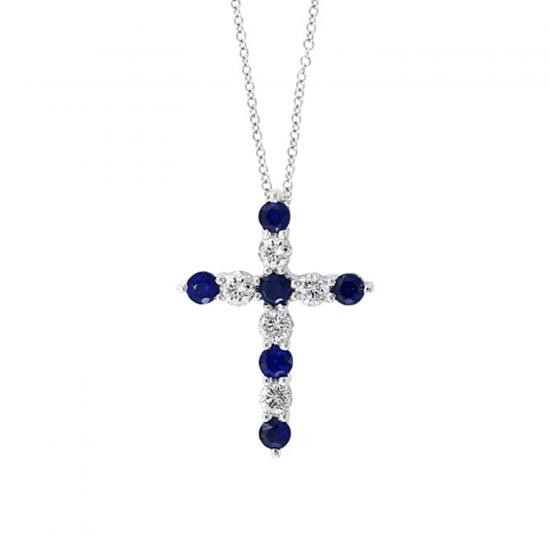 Крестик с чередованием сапфиров и бриллиантов, Больше Изображение 1