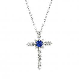 Крестик с центральным сапфиром и бриллиантами