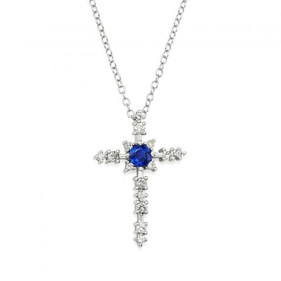 Крестик с центральным сапфиром и бриллиантами, Больше Изображение 1