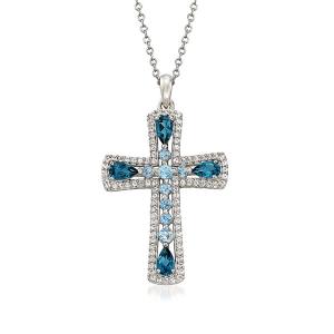 Крестик из золота с топазами и бриллиантами