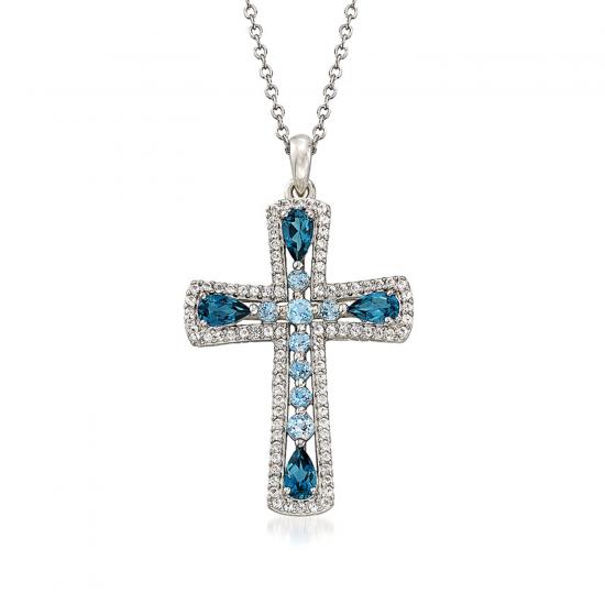 Крестик из золота с топазами и бриллиантами, Больше Изображение 1