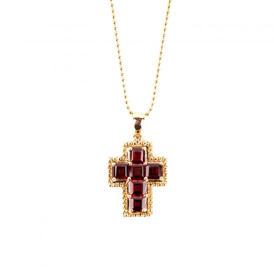 Крестик из золота с гранатами в стиле винтаж, Больше Изображение 1