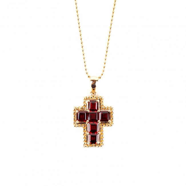 Крестик из золота с гранатами в стиле винтаж