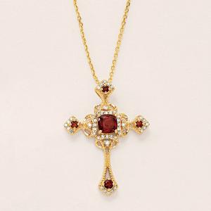 Крестик из золота с гранатами в винтажном стиле
