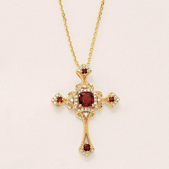 Крестик из золота с гранатами в винтажном стиле,  Больше Изображение 2