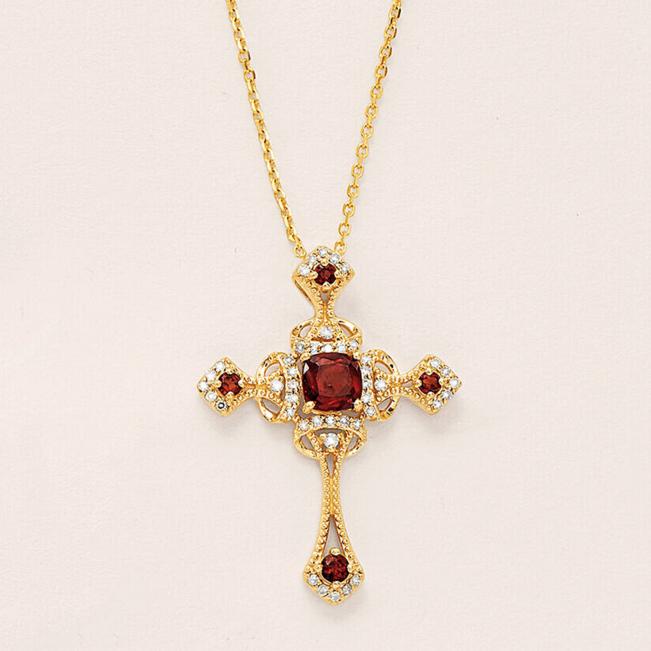 Крестик из золота с гранатами