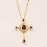 Крестик из золота с гранатами в винтажном стиле, Изображение 2