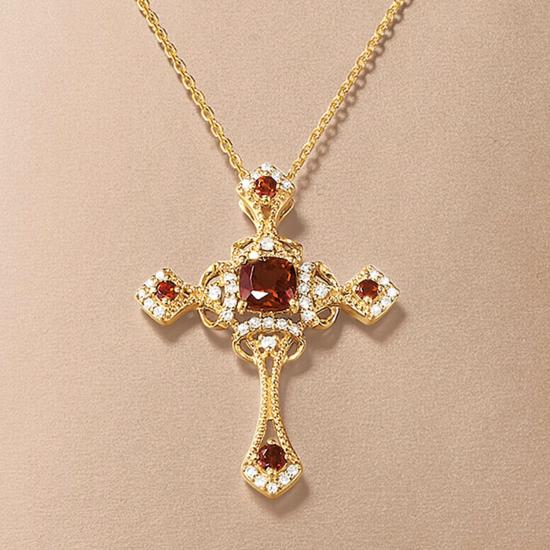 Крестик из золота с гранатами в винтажном стиле,  Больше Изображение 3
