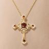 Крестик из золота с гранатами в винтажном стиле, Изображение 3