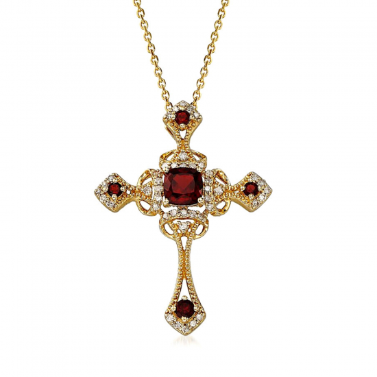 Крестик из золота с гранатами в винтажном стиле, Больше Изображение 1
