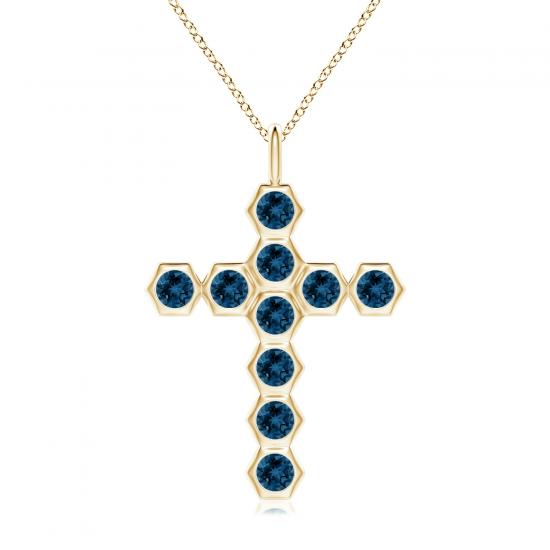 Крестик золотой с топазами Miel, Больше Изображение 1