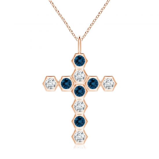 Крестик с топазами и бриллиантами, Больше Изображение 1