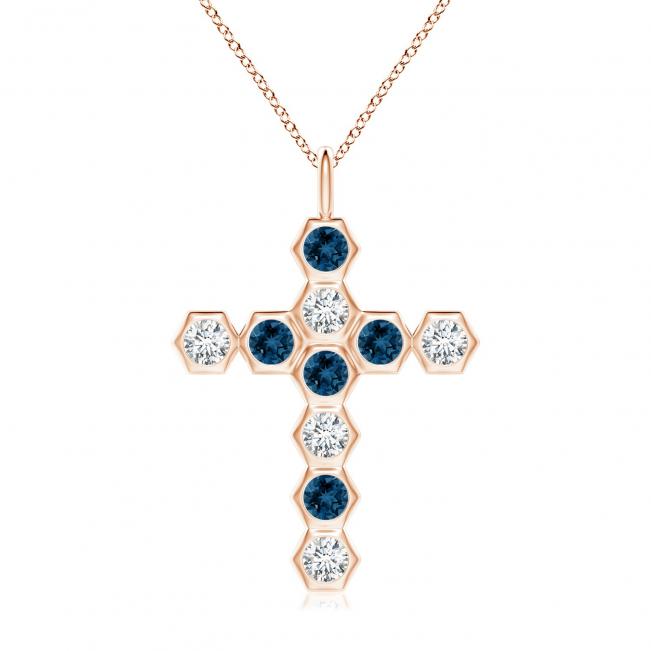 Крестик с топазами и бриллиантами