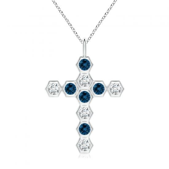 Крестик из золота с топазами и белыми бриллиантами, Больше Изображение 1