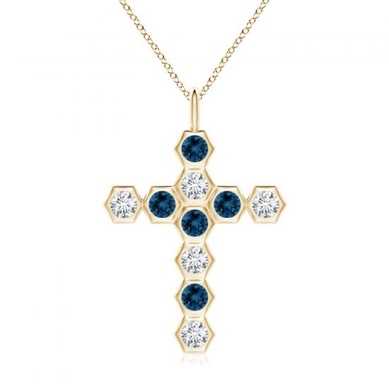 Крестик из золота с топазом и бриллиантом, Больше Изображение 1