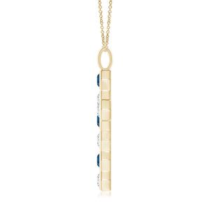 Крестик из золота с топазом и бриллиантом