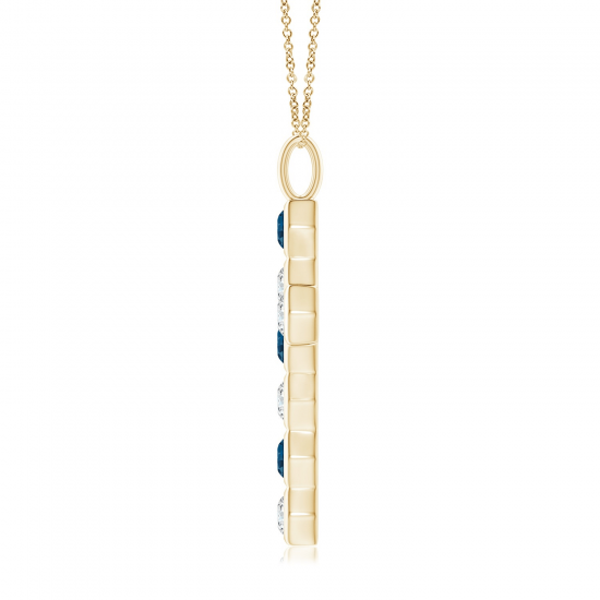 Крестик из золота с топазом и бриллиантом,  Больше Изображение 2