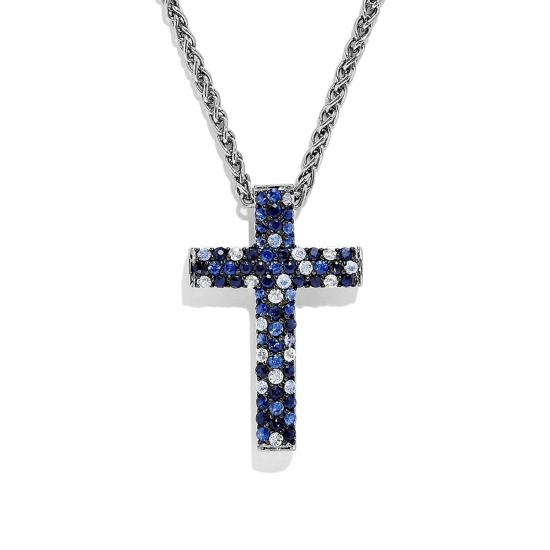 Крестик с паве из сапфиров, Больше Изображение 1