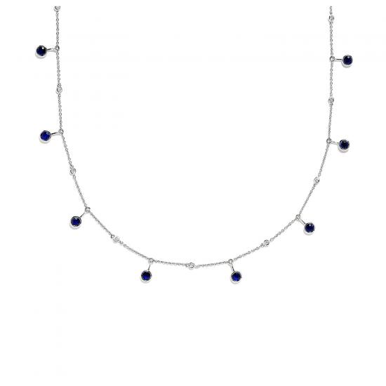 Цепочка из белого золота с сапфирами и бриллиантами, Больше Изображение 1