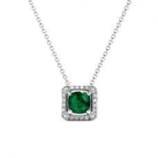 Кулон с изумрудом и бриллиантами в стиле ар-деко