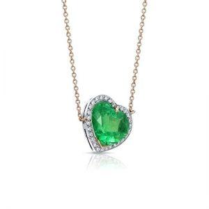Кулон Сердечко из изумруда 4.5 карата в окружении бриллиантов