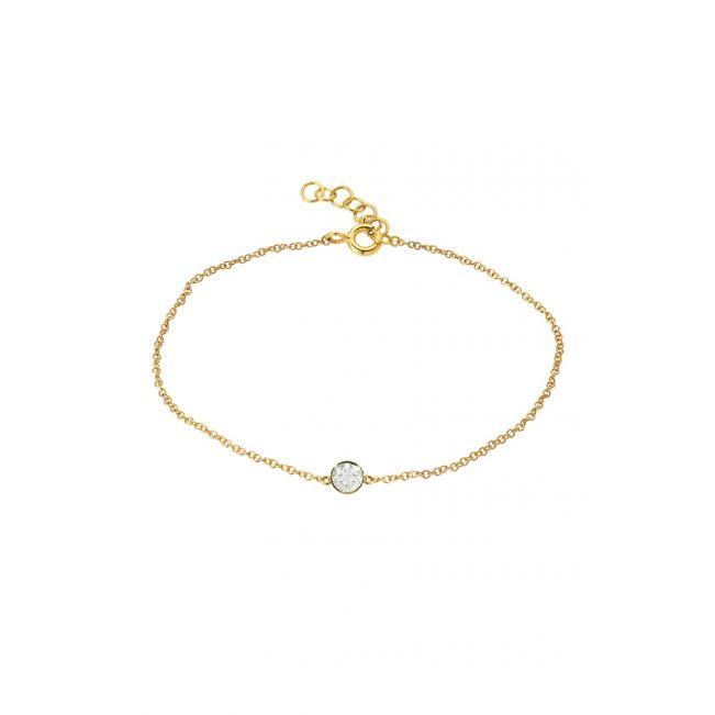 Тонкий браслет с бриллиантом на цепочке из белого золота