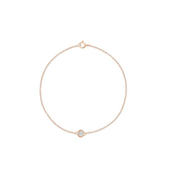 Тонкий браслет с бриллиантом на розовой цепочке, Больше Изображение 1