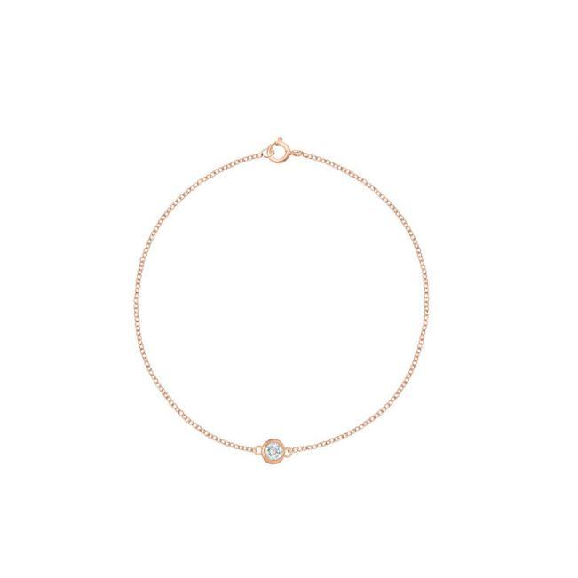 Тонкий браслет с бриллиантом на розовой цепочке