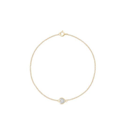 Тонкий браслет с бриллиантом сердечко на цепочке, Больше Изображение 1