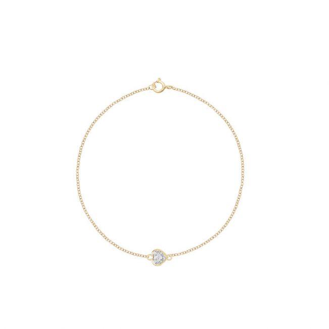 Тонкий браслет с бриллиантом сердечко на цепочке