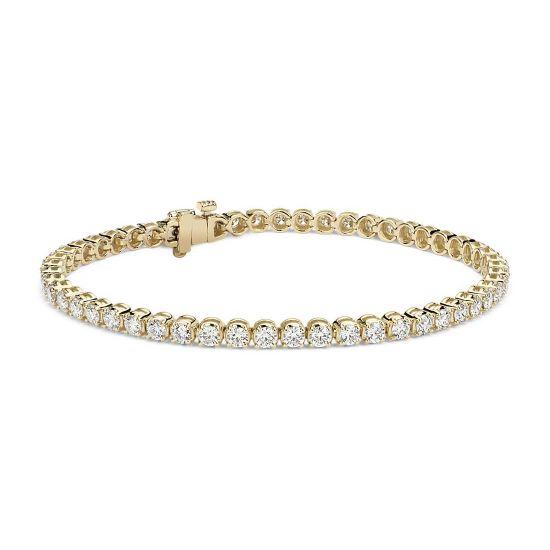 Теннисный браслет с бриллиантами 4.00 карата из желтого золота, Больше Изображение 1