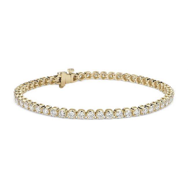 Теннисный браслет с бриллиантами 4.00 карата из желтого золота