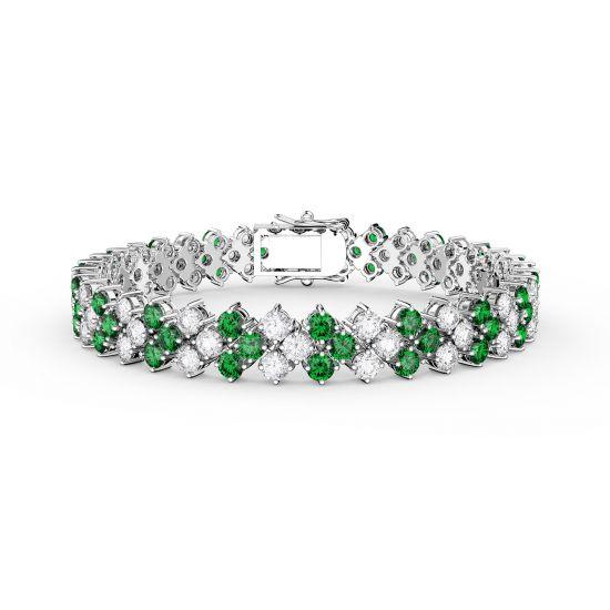 Браслет с изумрудами и бриллиантами в 3 ряда, Больше Изображение 1