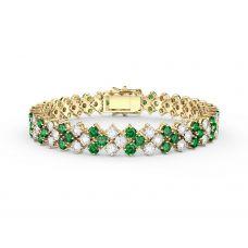 Браслет с изумрудами и бриллиантами в 3 ряда из золота