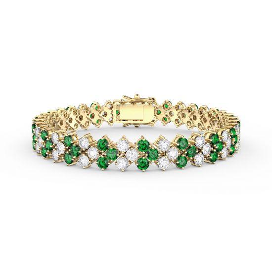 Браслет с изумрудами и бриллиантами в 3 ряда из золота, Больше Изображение 1
