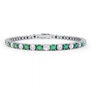 Теннисный браслет с бриллиантами и изумрудами