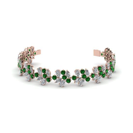 Браслет с бриллиантами и изумрудами из розового золота, Больше Изображение 1