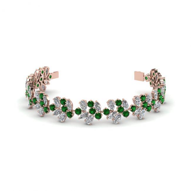 Браслет с бриллиантами и изумрудами из розового золота