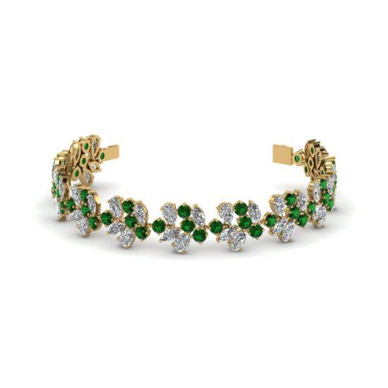 Браслет с бриллиантами и изумрудами из золота, Больше Изображение 1