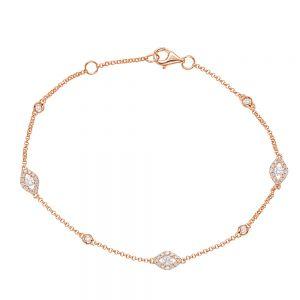 Тонкий браслет цепочка с бриллиантами от сглаза
