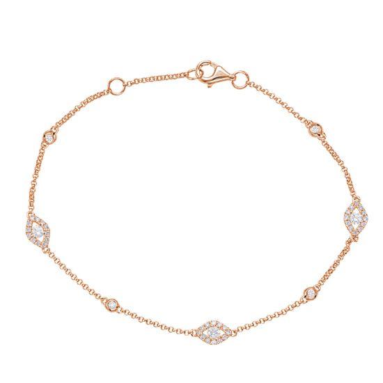 Тонкий браслет цепочка с бриллиантами от сглаза, Больше Изображение 1