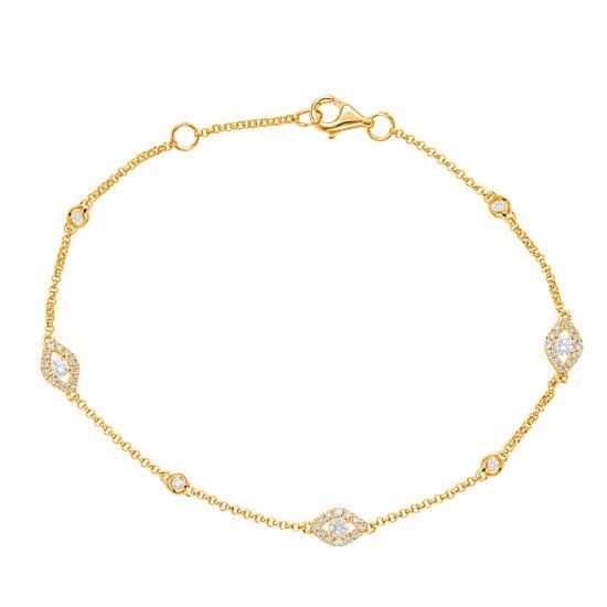 Тонкий браслет цепочка с бриллиантами от сглаза из желтого золота, Больше Изображение 1