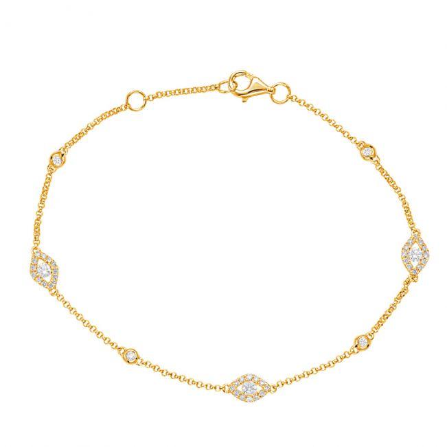 Тонкий браслет цепочка с бриллиантами от сглаза из желтого золота