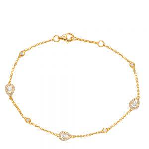 Тонкий браслет с бриллиантами на цепочке из желтого золота