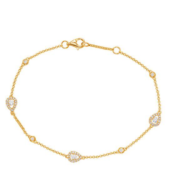 Тонкий браслет с бриллиантами на цепочке из желтого золота,  Больше Изображение 3