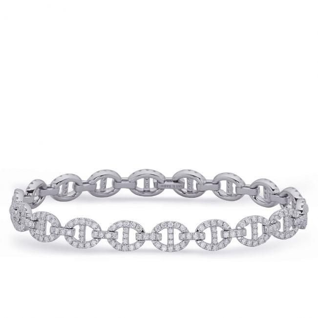 Браслет цепь с овальными бриллиантовыми звеньями