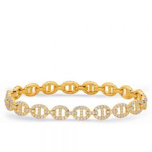 Браслет цепь с бриллиантовыми овальными звеньями