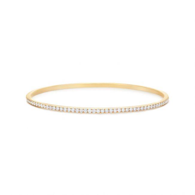 Простой золотой браслет с бриллиантами